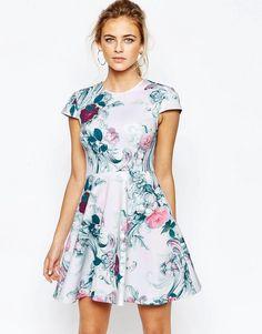 Image 1 ofTed Baker Kieley Skater Dress in Floral Print