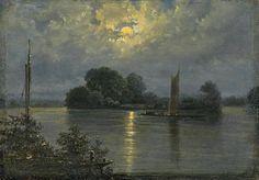 ✨  Carl Gustav Carus, German (1789-1869) - Vollmond bei Pillnitz. Öl auf Karton. 17,8 x 25,4cm.