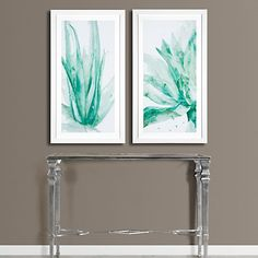 This two-series print by artist Allyson Fukushima uses powerful and soft shades of turquoise.