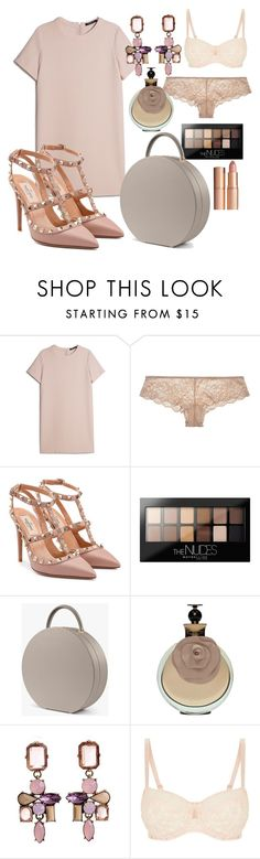 """""""Nude Deluxe"""" by mbali2flower ❤ liked on Polyvore featuring MANGO, Valentino, Maybelline, Loli Bijoux, Huit, Charlotte Tilbury and plussize"""