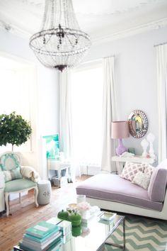 Amazing Pastel Lavender Living Room Decoration : Gray Purple Turquoise Pastel Lavender Living Room Design