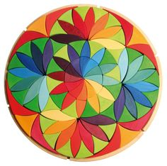 Wooden rainbow toy: Grimm's Toys Large Mandala - Circle Flower