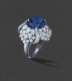 Harry Winston sapphire Tulip ring