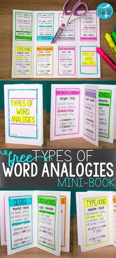 Analogies Mini-Book Take the mystery out of word analogies! Grab this free vocabulary tool to use in your classroom.Take the mystery out of word analogies! Grab this free vocabulary tool to use in your classroom. Teaching Vocabulary, Teaching Reading, Teaching Resources, Teaching Ideas, Vocabulary Building, Vocabulary Notebook, Academic Vocabulary, Vocabulary Activities, Montessori Activities