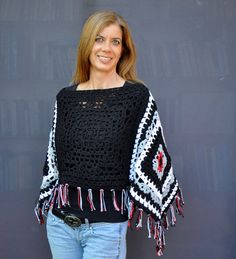 Hand made unique cotton crochet poncho / Black gray by SophieCRO
