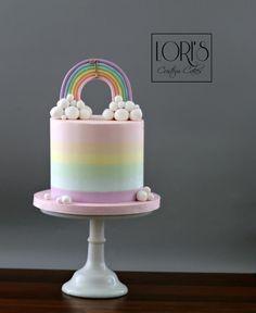 Buttercream rainbow - cake by Lori Mahoney (Lori's Custom Cakes) Baby Birthday Cakes, Rainbow Birthday Party, Bolo Tye Dye, Mini Cakes, Cupcake Cakes, Lemon And Coconut Cake, Salty Cake, Almond Cakes, Buttercream Cake
