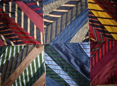 Tie Quilt made from striped silk ties.Etsy Quiltsfromclothes