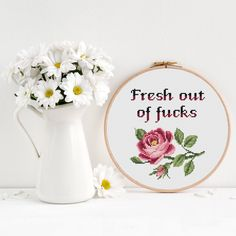 Fresh out of fucks Cross Stitch Pattern, Modern funny inappropriate subversive cross stitch, Floral flower cross stitch, Room Wall Decor by OhWowStitch on Etsy https://www.etsy.com/listing/592084723/fresh-out-of-fucks-cross-stitch-pattern