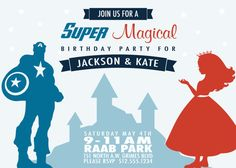 Super Magical, Capes and Crowns, Superhero and Princess invitation