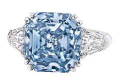 8.01-carat fancy vivid blue diamond ring. Sotheby's Hong Kong, auctioned April '12. Anticipated sale price: $14,000,000.