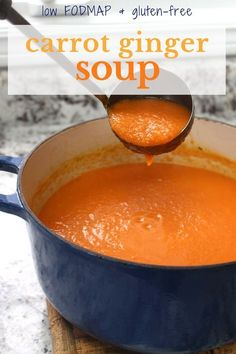A healthy and flavourful vegan low FODMAP Carrot Ginger Soup. Perfect for those on the low FODMAP diet and/or sensitive to onions. Fodmap Recipes, Diet Recipes, Vegan Recipes, Cooking Recipes, Diet Tips, Vegan Soups, Potato Recipes, Vegan Food, Cooking Time
