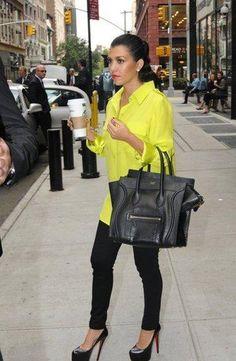 celine bag neon blouse