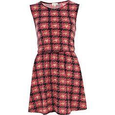 Pink check skater dress - dresses - sale - women £7
