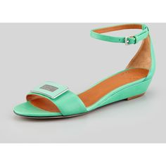 MARC by Marc Jacobs Logo Plaque Wedge Sandal, Jade ($258) found on Polyvore