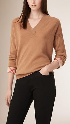 Camel Shawl Collar Cashmere Sweater - Image 1