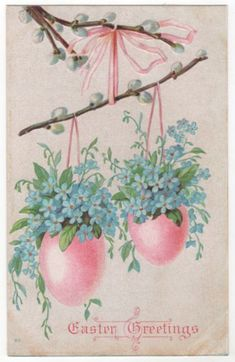 Pink eggs hold forget-me-nots for easter