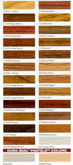 wood stain color chart  Stains can also be mixed into custom colors ...