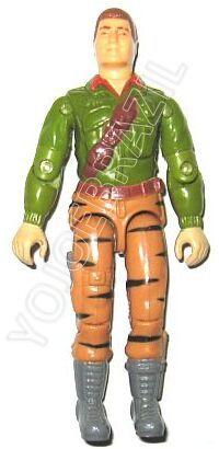 Descrição:   O Tigre Oficial de Inteligência (Duque) foi lançado no Brasil em 1990 (Série 7) pela companhia de Brinquedos Estrela, a figura corresponde ao modelo swivel arm (com movimento nos cotovelos). Trata-se da versão nacional do First Sergeant [Duke-V2] fabricado em 1988 pela Hasbro pela série G.I. JOE.