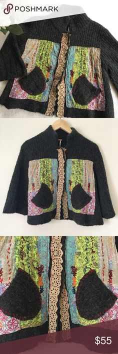 Free People Quilt Appliqué Sweater Adorable cozy sweater by Free People. Quilt appliqué detail in front. Slip pockets. Snap buttons. Some fuzzies as pictured, typical with this material, but overall in great condition! Slight bell sleeves. One light piece of yarn on sleeve. Make an offer or 'add to bundle' and I will send you a personal discount! ❤️ Free People Sweaters