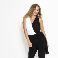 Black and White Wrap Jumpsuit Women Onepiece by ByGalit on Etsy