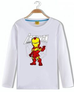 Q version Iron man t shirt for kids cotton long sleeve tees