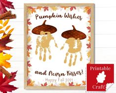 Fall Preschool Arts and Crafts, Pumpkin Wishes and Acorn Kisses, Homeschool Printables, Home Daycare Activities for Autumn by HolaSunshineDesigns on Etsy Preschool Arts And Crafts, Fall Preschool, Toddler Arts And Crafts, Fall Arts And Crafts, Daycare Crafts, Crafts For Kids, Pumpkin Preschool Crafts, Snowman Crafts, Preschool Ideas