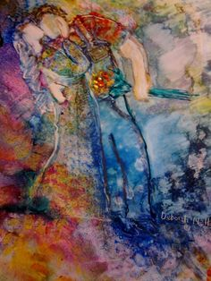 Modern Whimsical Painting Swept Away by ExpressivePaintings, $250.00