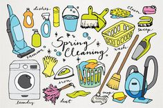 Spring Cleaning clipart  hand drawn clip art by LemonadePixel