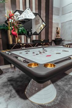 ROULETTE TABLE Roulette Table by Vismara Design perfectly framed by contemporary wall panels and ebony makassar console!