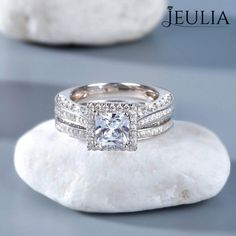 Jeulia Halo Princess Cut Created White Sapphire Wedding Set 2.05 CT #princesscutring