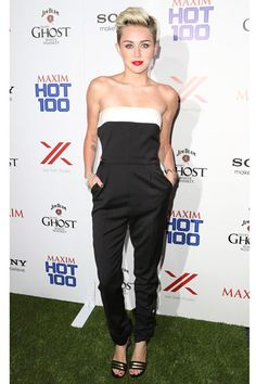 Miley Cyrus The star perfects the jumpsuit for evening look in this tailored black and white Valentino number.  Read more: Celebrity Summer Jumpsuits - Celebrities in Summer Jumpsuits 2013 - Harper's BAZAAR