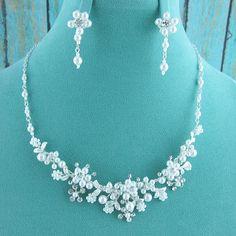 Pearl Jewelry Set Crystal Pearl Wedding by AllureWeddingJewelry