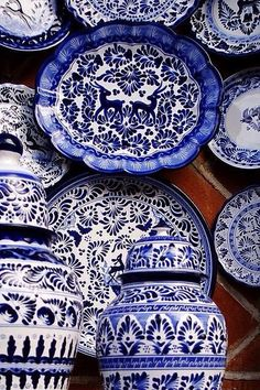 I love blue and white. Tiles in Heidi, Chinese food, Holland, tea parties - all of these things link back to blue and white pottery / delft etc. Blue And White China, Love Blue, Blue China, Delft, Talavera Pottery, White Dishes, Blue Dishes, White Decor, White Porcelain
