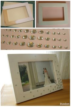 Dress up cheap picture frames with paint and gems (from the dollar store)!