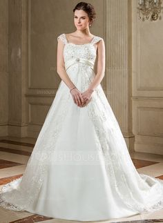 Empire Sweetheart Chapel Train Satin Tulle Wedding Dress With Lace Sash Beadwork Sequins (002000225)
