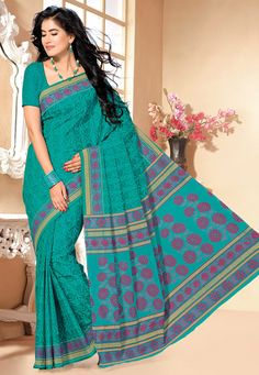 Roll over image to zoom enlarge Teal Green Cotton Saree with Blouse