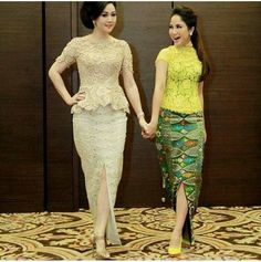 Traditional wear Kebaya Lace, Batik Kebaya, Kebaya Dress, Batik Dress, Model Kebaya Modern, Kebaya Modern Dress, Indian Gowns Dresses, African Fashion Dresses, Lace Skirt And Blouse