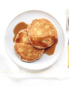Apple-Buttermilk Pancakes Recipe---sounds nice for breakfast or brunch with some real maple syrup and perhaps a slice of bacon. Buttermilk Pancakes, Breakfast Pancakes, Pancakes And Waffles, Breakfast Recipes, Pancake Recipes, Applesauce Pancakes, Banana Pancakes, Swedish Pancakes, Savory Pancakes