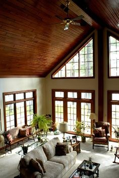 Love Everything About This Room.. Cathedral Ceilings, The Wood Work And  Windows.