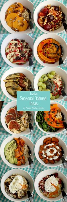 12 Seasonal Oatmeal Ideas for Sweet and Savory Breakfast. Incorporate seasonal vegetables and fruits in your oatmeal and make it healthy and delicious!