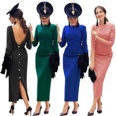 aaac5e72161c Deep V-back Buttons Split Solid Color Women Tee-length Long Dress