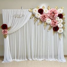 A beautiful BACKDROP 87 ft made for a special baby shower. Wedding Hall Decorations, Quinceanera Decorations, Diy Wedding Backdrop, Backdrop Decorations, Backdrop Frame, Paper Flower Backdrop, Paper Flowers, Rose Wedding, Floral Wedding