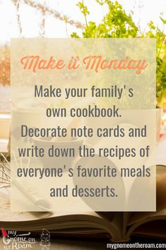Make your family's own cookbook for Decorate note cards and write down the recipes of everyone's favorite meals and desserts. Daily Activities, Your Family, Gnomes, Note Cards, Favorite Recipes, Make It Yourself, Meals, Writing, Desserts