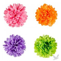 Mini Tissue Paper Pom Poms Flowers