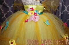 Disney Belle inspired Spring Easter First birthday tutu dress yellow tutu dress butterfly tutu dress garden tutu dress