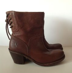 FRYE Women's Brown Leather Tie Up Ankle Boots Size 7 #Frye #AnkleBoots