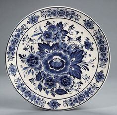 Delft Blue and White Floral Toile Plate Platter