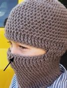 Crochet Helmet Liner.  Created for members of the military to wear under their helmets to stay warm.  Balaclava, ski mask, ninja hood.