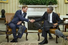 Prince Harry was all smiles as he met President Obama in the Oval Office today, 28 October 2015