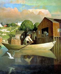 N.C. Wyeth  THE DORYMAN  1933, oil on canvas.  Trending into Maine by Kenneth Roberts  Little, Brown and Company, Boston, 1938